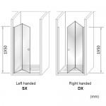 Porta A Soffietto Cromo Dx Trasp 72/76Cm H195-Box Docce 2B-H5BDCTR0-00