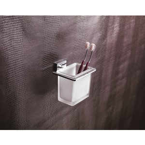 Flat Porta Bicchiere/Cromo Vetro Satinato Capannoli-FL103_VS33-20