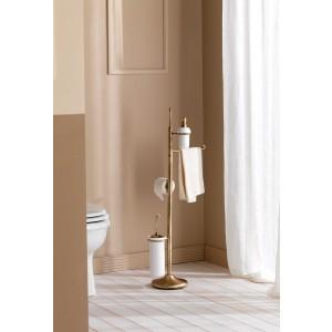Piantana Dosatore-Salv.-Rotolo-Scopino/Cromo Ceramica Bianco Retro Capannoli-R79_CB33-20